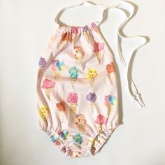 Organic Cotton, ice cream sunsuit.  Baby, toddler, girl by shop3littlesparrows on Etsy https://www.etsy.com/listing/229306503/organic-cotton-ice-cream-sunsuit-baby