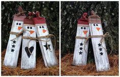 Distressed Rustic Wooden Snowmen Christmas by LittleZebrasBoutique