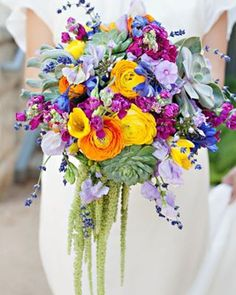 summer and spring wedding bouquets, diy succulent wedding bouquets, purple orange blue and yellow wedding colors, outdoor wedding ideas Summer Wedding Colors, Summer Weddings, Bright Wedding Colors, Colourful Wedding Flowers, Garden Weddings, Summer Flowers, Bright Colors, Bright Weddings, Yellow Weddings