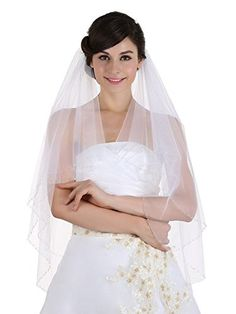 2 Tiers WhiteIvory Beaded Bride Wedding Veil Fingertip Bridal Veils 36 LongIvory *** Click image to review more details.-It is an affiliate link to Amazon. #BridalVeils