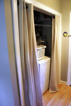 Curtains To Hide Washer And Dryer, Laundry Room Curtains, Curtains For Closet Doors, Laundry Room Doors, Laundry Room Remodel, Laundry Area, Hidden Laundry Rooms, Laundry Closet Makeover, Room Closet