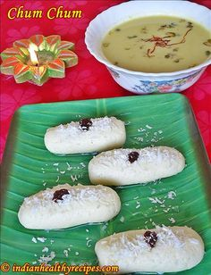 Cham cham sweet recipe - A classic Bengali delicacy known as chom chom or chum chum is made during durga puja or diwali. Recipe with step by step pics Bangladeshi Food, Bengali Food, Asian Recipes, Sweet Recipes, Indian Sweets, Pistachio, Yummy Treats, Sweet Tooth, Deserts
