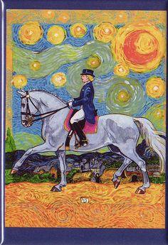 "Horse Art ""Lady in the Stars"" Magnet, 3x2"" professional grade plastic. $7.00, via Etsy."