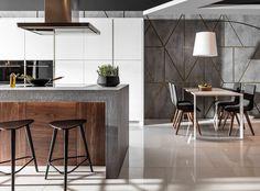 ATLAS KUCHNIE. OKTAWIA IX - Oktawia listwowa biały mat, Penelopa beton ares, Oktawia orzech amerykański. #meblekuchenne #kuchnia #białakuchnia #drewno #nowoczesnakuchnia #hokery #kamiennyblat #AtlasKuchnie Orzo, Kitchen Design, Table, Furniture, Home Decor, Decoration Home, Design Of Kitchen, Room Decor, Tables