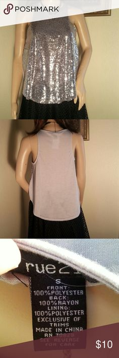 Sequins Tank top Paired with jeans or a skirt you will sparkle in this gray sequins tank top.  The front is silver sequins and the back is gray t-shirt type material.  Size small NWT. Rue 21 Tops Tank Tops