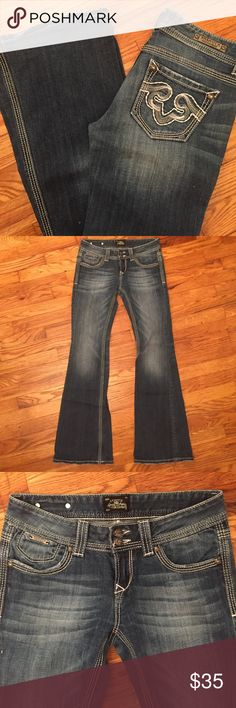Express Rerock jeans size 2 Rerock for express jeans. Like new! Only wore a few times. Size 2 flare - 98% cotton 2% spandex. Distressed look with no holes. Express Jeans Flare & Wide Leg