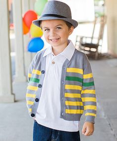 Another great find on #zulily! Gray & Yellow Stripe Cardigan - Infant, Toddler & Boys by RuggedButts #zulilyfinds
