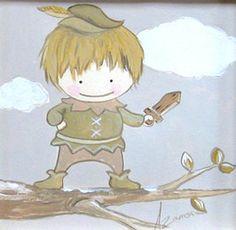 Aida Zamora - Art for kids. Custom paint. Cuadro infantil personalizado. Peter Pan