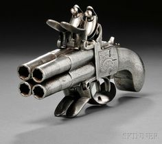 English four barrel flintlock tap action pistol, late 18th century. from Skinner Inc