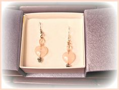 Rose Quartz Heart Earrings  Wedding Earrings by RomanticThoughts, $18.00