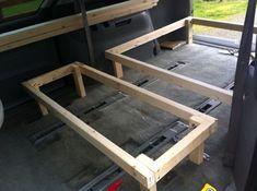 Minivan Camper Conversion – Stage One Complete! Cargo Van Conversion, Minivan Camper Conversion, Diy Van Conversions, Van Conversion Bed Frame, Minivan Camping, Truck Bed Camping, Camper Beds, Diy Camper, Camper Van
