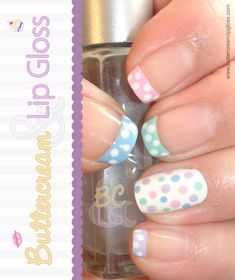 Easter Manicure  Lately I've been just a tad bit obsessed with polka dots and I decided they'd be perfect for an Easter manicure. I grabbed various polishes and mixed them with white to make them a bit pastel. I then painted my tips and added white polka dots. I painted my accent nail white and added dots to match the other nails.  Overall I liked how they turned out.