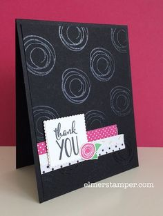 Swirly Bird and Pop of Pink are Perfect Together on this handmade thank you card. The swirls are embossed in clear, which stands out nicely on this all black background.