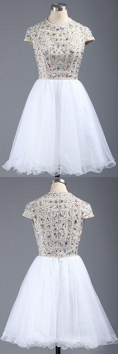 Short Sleeve Prom Dresses, Beaded Formal Dresses, Short Evening Dresses, White Homecoming Dresses, Scoop Neck Graduation Dresses