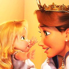 Rapunzel and her mother from Disney's movie Tangled  (Click through to view the complete animated gifs collection)