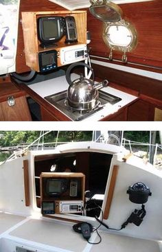 This is a great solution to having both chartplotter & VHF accessible from both the cockpit and cabin on a small sailboat. I found this somewhere on the net, but couldn't retrace my steps. I would love to know how the hinge was made. Used Sailboats, Small Sailboats, Boat Building Plans, Boat Plans, Sailboat Interior, Sailboat Living, Buy A Boat, Boat Insurance, Build Your Own Boat