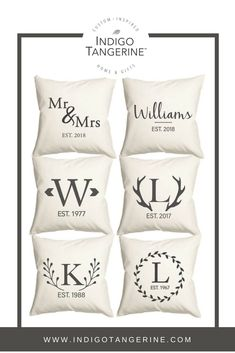Looking for a great wedding gift idea? Why not get them a pillow customized with their new married name and wedding date? They're 100% organic canvas, certified fair trade, and printed with water-based inks in the USA.