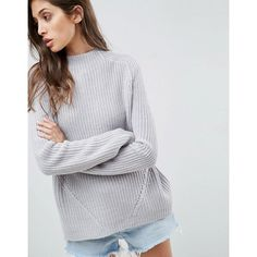 ASOS Ultimate Chunky Jumper With Slouchy High Neck ($33) ❤ liked on Polyvore featuring tops, sweaters, high neck sweater, going out tops, chunky knit jumper, high-neck tops and chunky knit sweater