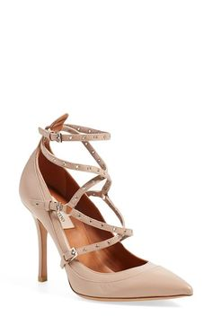 Free shipping and returns on Valentino 'Love Latch' Strappy Grommet Pump (Poudre) at Nordstrom.com. With its trio of buckles, slender straps punctuated by grommets, curvy, doubled topline and pointy toe, this strappy pump from Valentino offers a fresh take on refined rocker-chic.