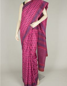 Hand Block Print Mulmul Cotton Saree without Blouse-1117