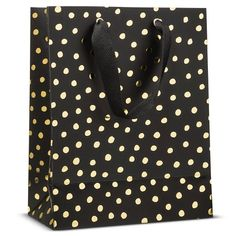Sugar Paper Black with Gold Dots Gift Bag