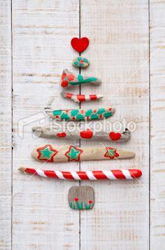 Driftwood Christmas tree. Royalty Free Stock Photo