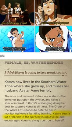 The Legend of Korra/Avatar the Last Airbender: katara and only Korra is like times sassier XD Korra Avatar, Team Avatar, Legend Of Aang, Avatar World, Water Tribe, Avatar Series, Iroh, Korrasami, Fire Nation