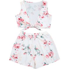 Knot Hem Floral Crop Top And Shorts ($17) ❤ liked on Polyvore featuring floral two piece and white two piece