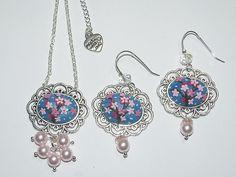 Cherry blossom pendant and earrings set | by Atellier handmade