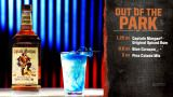 bar rescue drinks!   Out of the park quarter ounce blue curacao  1.25 ounce pina colada mix  3 ounce captain morgan
