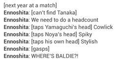 I wonder what will ennoshita call kuroo and bokuto according to this! #hqtext Haikyuu!!