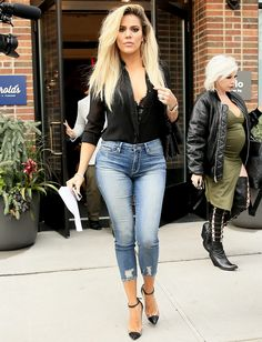 Khloé Kardashian Shows Off Her Assets in Sheer Plunging Top and Curve-Hugging Skinny Jeans from InStyle.com