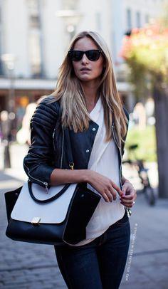 Celine bag, and leather jacket! This look says Fall! #celinebag #fall #leatherjacket