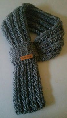 Adjustable Kids or Adults Hand Knit Scarf   Neck warmer in 3 Color with  hand made leather label 8b2377fed6