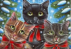 Cats Christmas Painting