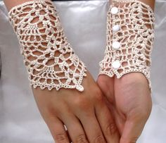 Summer Fingerless gloves victorian style crochet, handmade