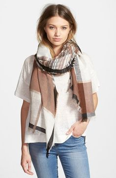 neutral plaid scarf, fall style