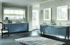 This composition in Aviation Blue matt lacquer finish is inspired by the Art Deco style. It is an elegant design for a shared space (with two Dayl semi-inset ceramic washbasins). Italian Bathroom, Art Deco Stil, White Rooms, Grey Walls, Bathroom Furniture, Bathroom Storage, Elegant, Interior Design, Luxury