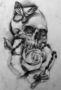 Black And White Skull And Rose Drawings Google Search A