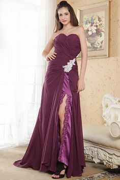 Buy ruched sweetheart high low chiffon women evening dress with appliques from dark purple evening dresses collection, sweetheart neckline column/sheath in color,cheap chiffon dress with zipper and brush train for prom formal evening celebrity . Cheap Graduation Dresses, Elegant Homecoming Dresses, Cheap Short Prom Dresses, Beautiful Prom Dresses, Prom Dresses Online, Pageant Dresses, Dresses 2014, Dress Online, Wedding Dresses