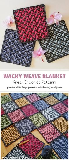 Wacky Weave Blanket Free Crochet Pattern - There is nothing we love better than a multicolor square blanket, right? This one certainly ticks a - Crochet Square Patterns, Crochet Blocks, Crochet Squares, Crochet Blanket Patterns, Crochet Stitches, Crochet Blankets, Afghan Patterns, Crochet Afghans, Throw Blankets