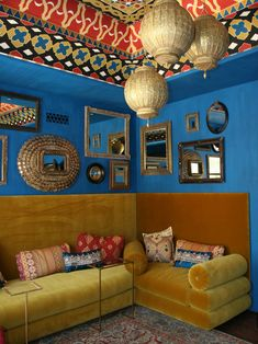 Moroccan Sitting Room mirror, living rooms, blue, color, living room designs, moroccan style, bohemian design, painted ceilings, bohemian interior