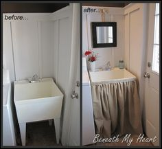 darling! tutorial: dressing up a mud room sink {@Linda Cook, you could do this with your potting sink in the carriage house!}