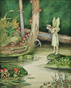 Love this little fairy and gnome artwork by Ida Rentoul Outhwaite (Australian illustrator; Check out the little gnomes faces! Fairy Dust, Fairy Land, Fairy Tales, Art And Illustration, Illustrations, Fantasy Kunst, Fantasy Art, Fairy Pictures, Vintage Fairies