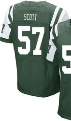 """$78.00--Bart Scott Jersey - Elite Green Home Nike Stitched New York Jets #57 Jersey,Free Shipping! Buy it now:click on the picture, than click on """"visit aliexpress.com"""" In the new page."""