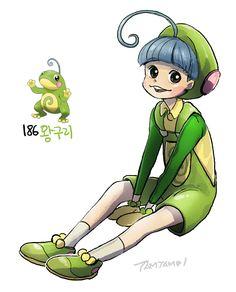 Pokemon Gijinka 186. Politoed >>see Poliwag and Poliwhirl Gijinkas