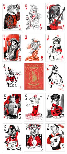 All the face cards in the Pack of Dogs Deck.