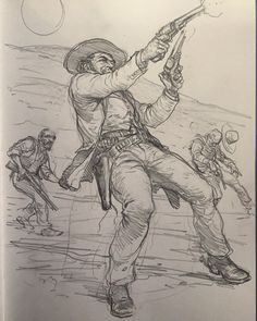Art of Karl Kopinski - Morning western sketch — with Ahmet Önder. Figure Sketching, Figure Drawing Reference, Art Reference Poses, Character Sketches, Character Drawing, Cool Art Drawings, Drawing Sketches, Karl Kopinski, Human Sketch