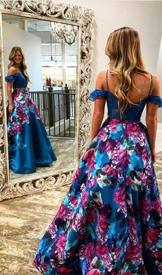 two piece blue floral prom dresses long, chic cold shoulder a line evening party gowns, simple stain graduation dress for teens #prom #floral