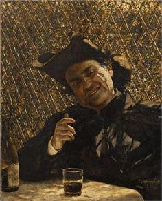 Ksiądz pijący wino - Aleksander Gierymski (Polish: 1850-1901) |